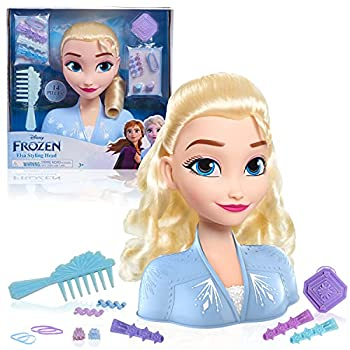Disney Frozen 2 Elsa Styling Head 14-Pieces Include Wear and Share Accessories Blonde Hair Styling for Kids by Just Play
