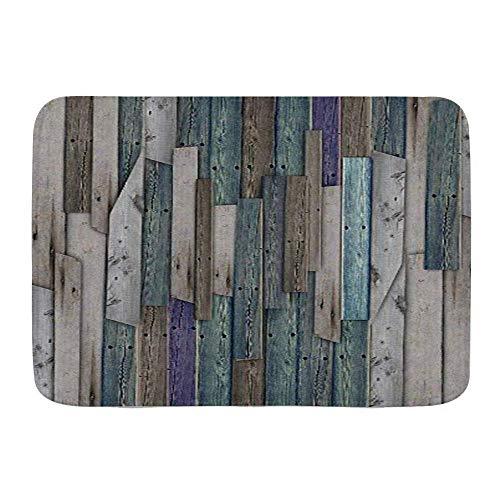 Badematte Teppich, rustikales Bild von blau grau Grunge Holzplanken Scheune Haus Türnägel Landleben Thema Druck, Plüsch Badezimmer Dekor Matten mit Rutschfester Rückseite