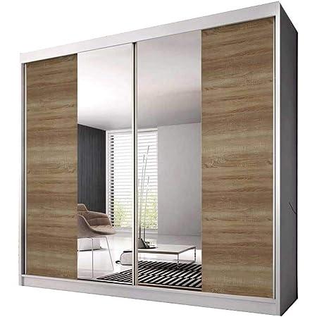E-MEUBLES Armoire de Chambre avec 2 Portes coulissantes | Penderie (Tringle) avec étagères (LxHxP): 183x218x61 Ben 36 (Blanc/chêne Sonoma+Miroir)