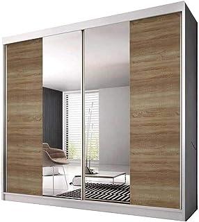 E-MEUBLES Armoire de Chambre avec 2 Portes coulissantes | Penderie (Tringle) avec étagères (LxHxP): 203x218x61 Ben 36 (Bla...