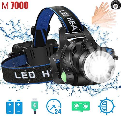 HUNLEE Stirnlampe LED USB Wiederaufladbare Kopflampe 1000 Lumen mit Sensor Zoombar Stirnlampe für Laufen Jogging Angeln Reparieren mit 2 Stück 18650 Akkus
