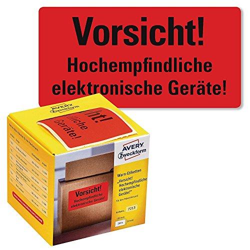 Avery Zweckform Warnetiketten im Kartonspender | 100 x 50 mm, 200 Etiketten auf Rolle | (Vorsicht! elektronische Geräte!, neon rot, 6)