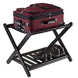 EBTOOLS Kofferständer, Holz Faltbarer Gepäckträger Kofferhalter Gepäckständer Gepäckablage Kofferbock mit 2 Ablagen für Koffer und Gepäck, Anzug für Zuhause und Hotel, schwarz, 67 * 45 * 54cm
