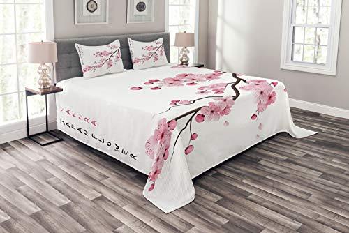 ABAKUHAUS asiatisch Tagesdecke Set, Japanischer Kirschzweig, Set mit Kissenbezügen Feste Farben, für Doppelbetten 264 x 220 cm, Weiß Rosa