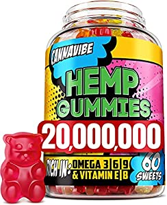 Cannavibe Hemp Gummies - Calm & Sleep Gummies with Hеmp Еxtract - Rich in Vitamin B & Omega 3-6-9 - 60 Pcs