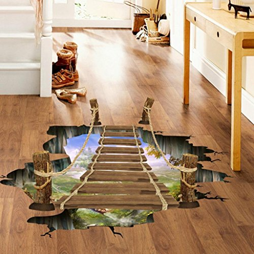 NiceButy Wall Stickers,GOODCULLER 3D Bridge Floor Art Removable Wall Sticker Background Decorated Decal Home Decor