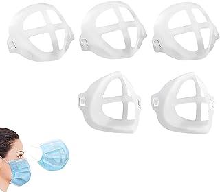 براکت ماسک 3D [5 PCS] براکت صورت ، پشتیبانی داخلی قاب دهان و بینی باعث افزایش فضا می شود ، محافظت از رژ لب صورت ، قاب قابل شستشو قابل استفاده مجدد [5 بسته]
