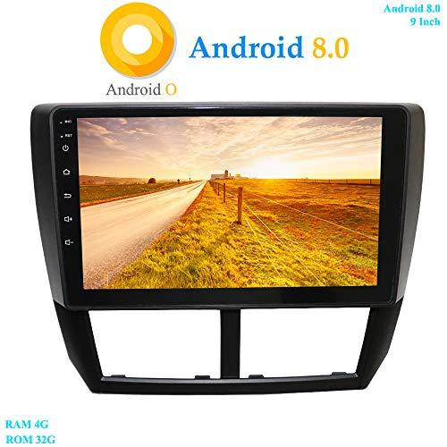 XISEDO Android 8.0 Autoradio in-Dash 9 Pouces Écran Tactile 8-Core RAM 4G ROM 32G Autoradio Soutien Commande au Volant, WiFi, Bluetooth Voiture Radio pour Subaru Forester (2008-2011) (avec DVR)