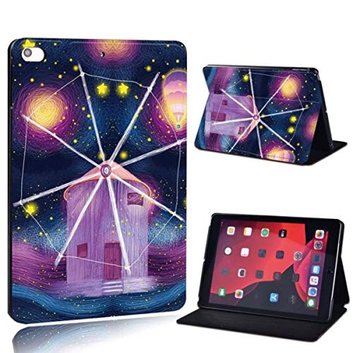 for iPad 2 3 4 5 6 7/Air 1 2,Air 3 10.5/Pro 11/ Pro 2nd 10.5 -Printed PU Leather Tablet Stand Folio Cover Shockproof Case,8.Windmill Paint,iPad Pro 2nd 10.5