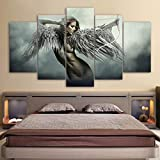 Wenoave 5 Piezas Impresiones En Lienzo - Canvas HD Prints Wall Art Pictures 5 Pieces Sets Fantasy Angel Warrior Wing Paintings Home Decor Anime Girl Posters - Sin Marco: 200X100 Cm