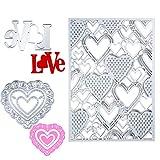 3 Pieces Valentine's Day Cutting Dies 3D Heart Stencil Template Metal Cutting Stencils for Valentine's Day Scrapbook Card Making DIY Crafts Favors