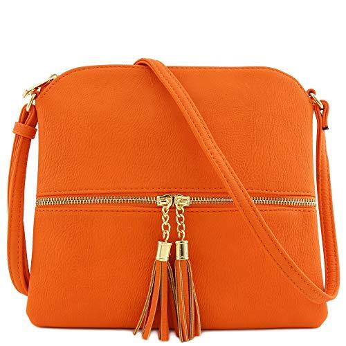 Lightweight Medium Crossbody Bag with Tassel (Orange)