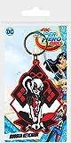 DC Comics Super Hero Girls-harley Quinn en caoutchouc Porte-clés, Multicolore, 4.5x 6cm