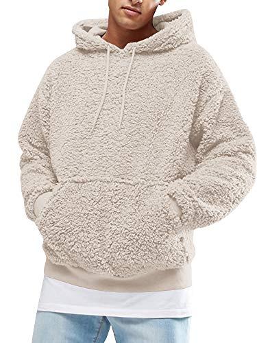 Gemijacka Pullover Herren Hoodie Herren Kapuzenpullover Plüsch Hoodie Sweatshirt Teddy-Fleece Pullover mit Taschen, Grau, XL
