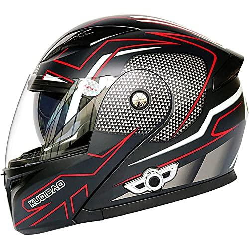 Bluetooth Casco Moto Modular,con Doble Anti Niebla Visera Cascos de Motocicleta ECE Homologado a Prueba de Viento para Adultos Hombres Mujeres E,M57~58cm