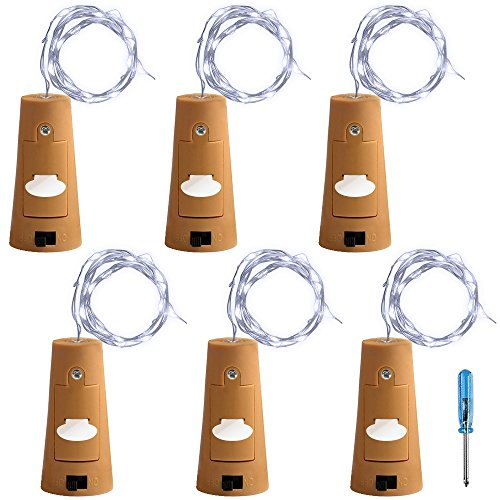 AFUNTA 6 Pcs Cork Light Screwdriver, Bottle Lights Fairy String LED Lights, 78 inches / 2 m Copper Wire 20 LED Bulbs Suitable Party Wedding Concert Festival Christmas Tree Decoration-Cool White