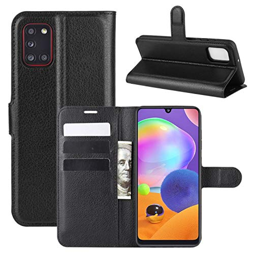 COPHONE Handyhülle Schwarz Kompatibel Samsung Galaxy A31 Hülle Leder, Samsung Galaxy A31 Klapphülle Handytasche Hülle für Samsung Galaxy A31 Handy Hüllen