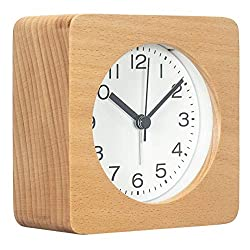 AROMUSTIME 3-Inches Square Wooden Alarm Clock with Arabic Numerals, Non-Ticking Silent, Backlight, Battery Operated, Nature