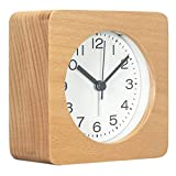 3-Inches Square Wooden Alarm Clock with Arabic Numerals, Non-Ticking Silent, Backlight, Battery Operated, Nature