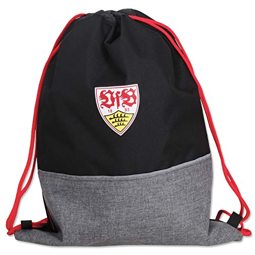 VfB Stuttgart Trainingsbeutel - Logo - schwarz-grau Sportbeutel, Gym Bag, Rucksack - Plus Lesezeichen Wir lieben Fußball
