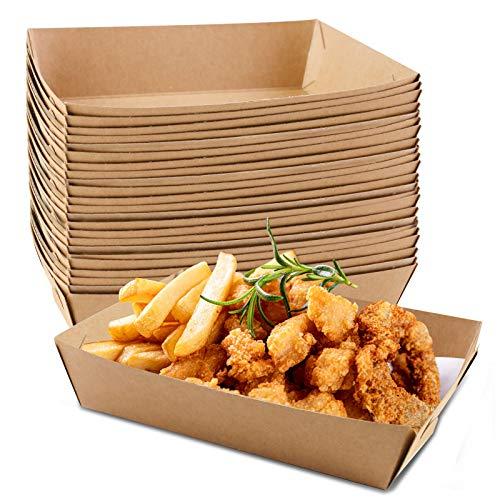 HAKACC 6.3' Extra Kraft Paper Food Tray Brown 50 PCS
