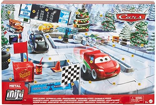 Disney Pixar Cars GPG11 - Minis Adventskalender, ein Türchen pro Tag, Abenteuer Rennauto Zubehör und Überraschungen zu Weihanchten, Geschenk für Kinder ab 3 Jahren