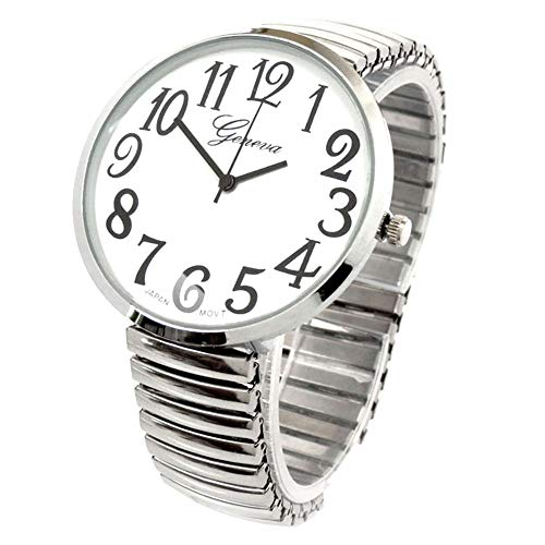 Blekon Collections Silver Super Large White Face Case Size 43mm EXTRA LARGE Stretch Band Japanese Movement PC21J Fashion Watch