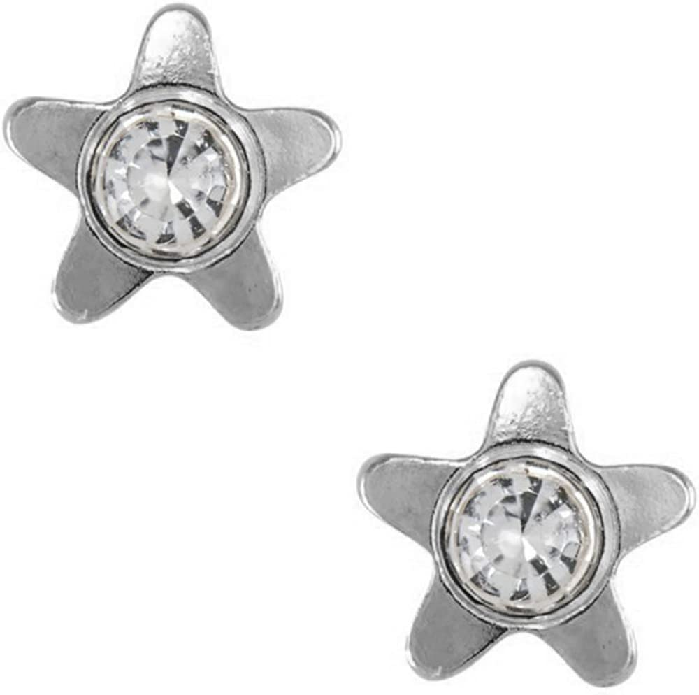 Studex Tiny Tips 4mm Star and Crystal Centre Stainless Steel Childrens Hypo-allergenic Stud Earrings