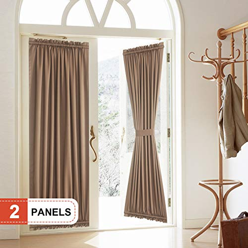 """Rose Home Fashion Blackout Door Curtain, Elegance French Door Curtains for Privacy, Thermal Insulated Door Curtain Panels, Room Darkening Door Window Curtain (50"""" x 72"""" 2pcs: Chocolate)"""