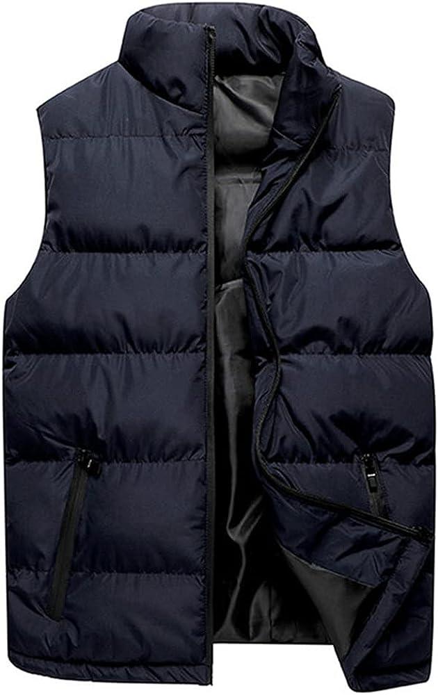 Men Casual Winter Hooded Zipper Coat Inn Outwear Sleeveless Houston Mall Vest Large discharge sale