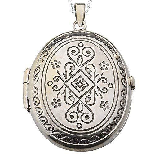 Alylosilver Collar Colgante Guardapelo de Plata De Ley para Mujer Oval Grabado en Terminacion Vintage - Incluye Cadena de Plata 45 cm y Estuche para Regalo