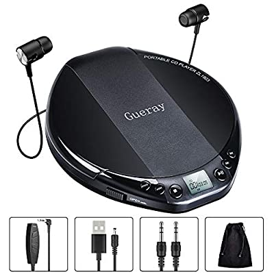 Gueray Portable CD Player HiFi Classic Personal CD Discman with Headphone Anti-Skip Protection LCD Display Walkman 25 Track Programmable Memory by Gueray
