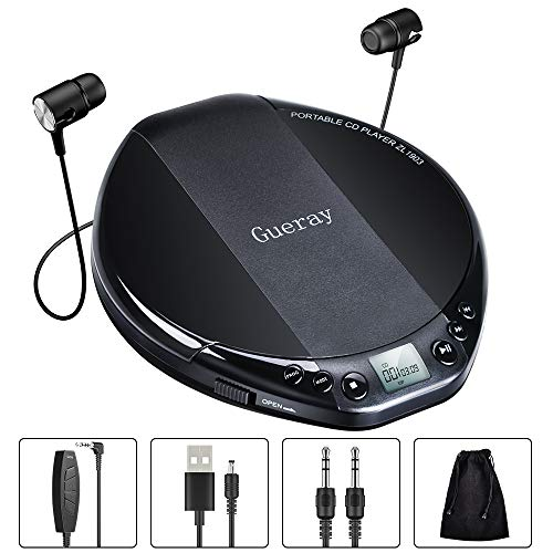 Gueray Reproductor de CD portátil HiFi Classic CD Personal Discman con Audífonos Protección Anti-Saltos Pantalla LCD Walkman