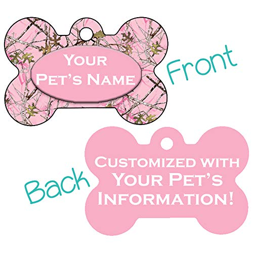Double Sided Camo Print Pet Id Dog Tags Personalized with 4 Lines of Text (Pink Realtree)
