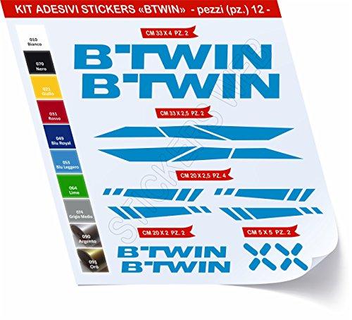 Adesivi Bici BTWIN_Kit 2_ Kit Adesivi Stickers 12 Pezzi -Scegli SUBITO Colore- Bike Cycle pegatina cod.0480 (Blu Leggero cod. 053)