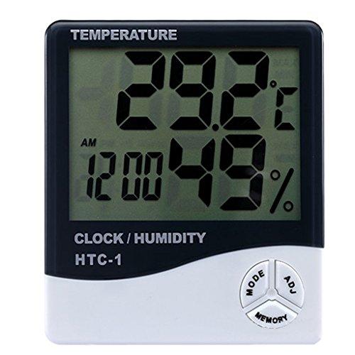 Yammy 【デジタル温湿度計】 熱中症 ・インフル ・お肌のうるおい等チェックに 温度計 湿度計 時計 アラーム 温度管理 測定器 卓上 スタンド フック穴