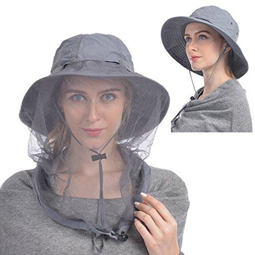 Xiton 1PC Sonnenhut Damen Herren Bucket Hat mit Hidden Netz Mütze Moskito-Kopfnetz-Hut Schutz vor Insektenwanzen Bienen Moskito Outdoor Garten