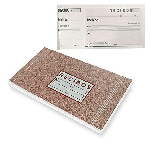 EUROXANTY Talonario Recibos | Documentos de pago | Recibos de compra | Hojas con Precorte | 100 hojas por talonario | 20 x 10,5 cm