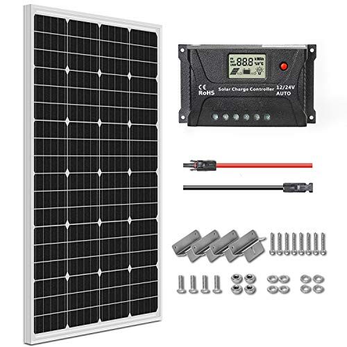 WEIZE 100 Watt 12 Volt Monocrystalline Solar Panel Kit, with Charger Controller, 20ft MC4 Cable, Z Brackets