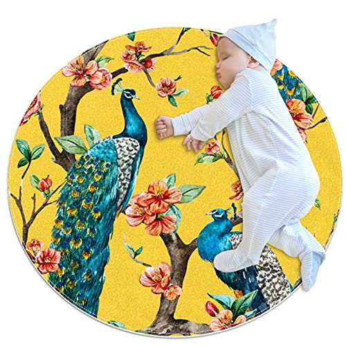 Peacock Cherry Flowering Trees Watercolor Pattern Round Area Rug 2.62ft Traditional Throw Runner Rug Non-Slip Backing Soft Floor Carpet for Sofa Living Room Bedroom Modern Accent Home Decor