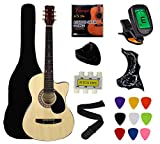 YMC 38' Cutaway Natural Beginner Acoustic Guitar Starter Package Student Guitar with Gig Bag,Strap, 3 thickness 9 picks,2 Pickguards,Pick Holder, Extra Strings, Electronic Tuner -Natural Cutaway