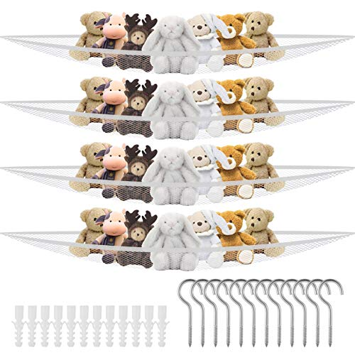 Auxsoul 4 Packs Jumbo Toy Hammock Organize Stuffed Animals and Children#039s Toys with This Mesh Hammock Great Decor While Neatly Organizing Kid#039s Toys and Stuffed AnimalsWhite