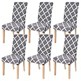 Dining Room Chair Covers Slipcovers Set of 6, SearchI Spandex Fabric Fit Stretch Removable Washable Short Parsons Kitchen Chair Covers Protector for Dining Room, Hotel, Ceremony (Gray, 6 per Set)