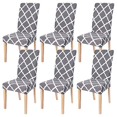 fits for chairs SearchI Dining Room Chair Covers Slipcovers Set of 6, Spandex Fabric Fit Stretch Removable Washable Short Parsons Kitchen Chair Covers Protector for Dining Room, Hotel, Ceremony (Gray, 6 per Set)