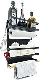 Magnetic Fridge Spice Rack Organizer (Large with 6 Utility Hooks) - 4 Tier Mounted Storage, Paper Towel Roll Holder, Multi Use Kitchen Shelf, Pantry Wall, Laundry Room, Dorm, Garage... [Matte Black]