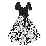 ASHOP Ropa de Mujer en Oferta, Mangas Llamarada Vestidos Casual Verano 2019 Minivestido Vintage de Fiesta Falda Rockabilly Party Dress (Negro,EU 44)