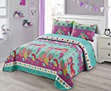 Better Home Style Under The Sea Life Mermaid with Fish Seashell & Starfish Design Kids/Girls/Teens 3 Piece Coverlet Bedspread Quilt Set with Pillowcases # Riding Mermaid (Queen/Full)
