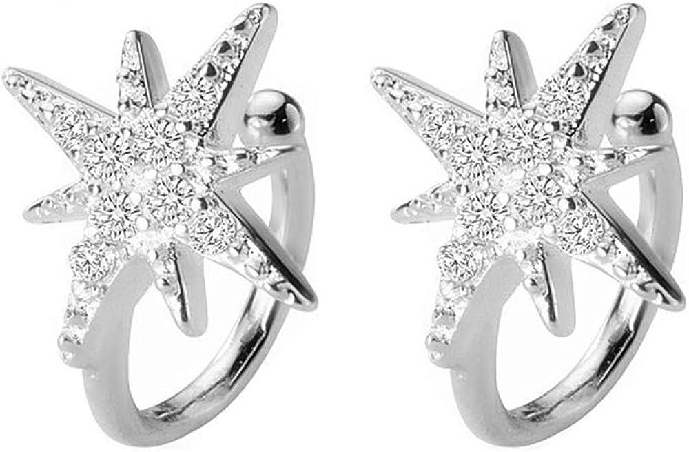 Huggie Ultra-Cheap Deals CZ Star Cuff Wrap Earrings for shipfree Girls Women Sterling 925 S