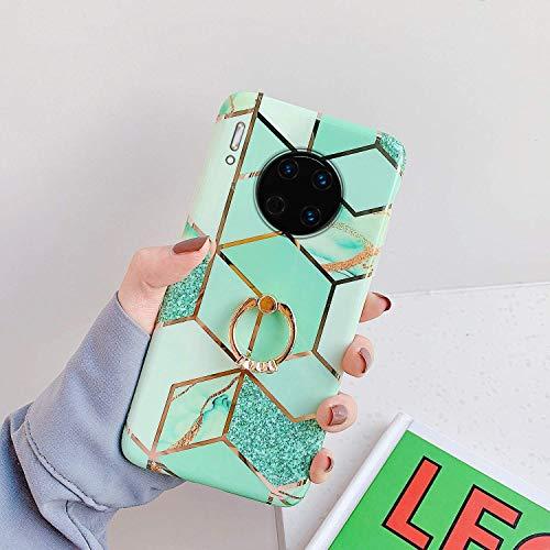 Saceebe Compatible avec Huawei Mate 30 Coque Silicone Motif Géométrique Marbre Housse Etui avec Anneau Support Bague Glitter Paillette Brillant Strass Ultra Fine Fille Case,Vert
