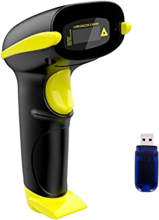 NADAMOO Wireless Barcode Scanner, Compatible with Bluetooth Function & 2.4GHz Wireless & Wire Connection, 1D USB Cordless Laser Bar Code Reader for Windows Mac OS Android iOS, Read 1D Barcode Scanner